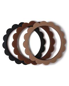 Bijtringen Flower Bracelet Black-Natural-Caramel (3 stuks)
