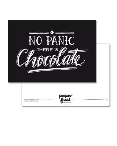 Kaart A6 No Panic there's chocolate